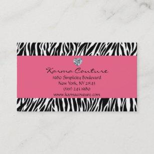 Diamond shaped business cards zazzle zebra print pink w heart shaped diamond business card colourmoves