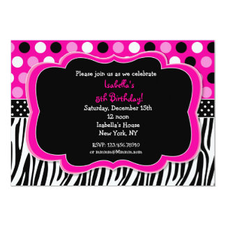 Zebra Print Polka dots BIrthday Invitations