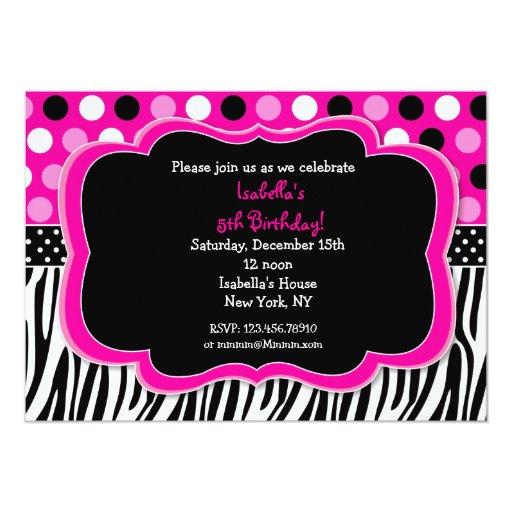 Zebra Print Polka dots BIrthday Invitations