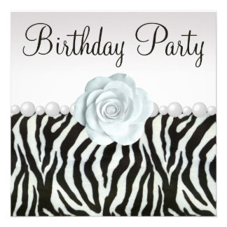 Zebra Print Printed Pearls Rose Birthday Party Personalized Invitation