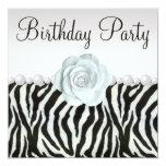 "Zebra Print & Printed Pearls & Rose Birthday Party 5.25"" Square Invitation Card"