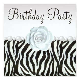 "Zebra Print & Printed Pearls & Rose Birthday Party 5.25"" Square Invitation Card"