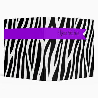 Zebra Print Purple Banner Personalized 3 Ring Binder