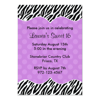 Zebra Print Purple Dot Invitations Announcements