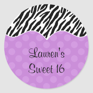 Zebra Print Purple Dot Stickers