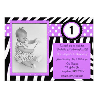 Zebra Print Purple Girls Birthday Invitation