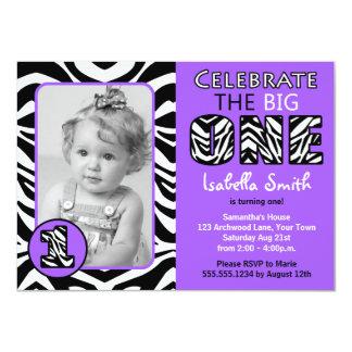 Zebra Print Purple Girls First Birthday 4.5x6.25 Paper Invitation Card
