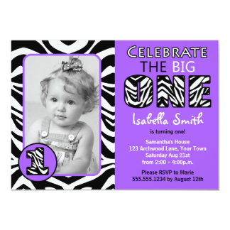 Zebra Print Purple Girls First Birthday Card