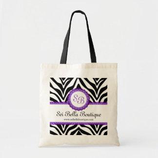 Zebra Print Purple Lace Monogram Tote Bags