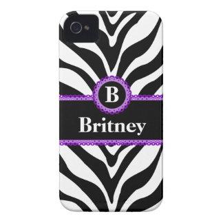 Zebra Print Purple Lace Monogram Name Case-Mate iPhone 4 Case