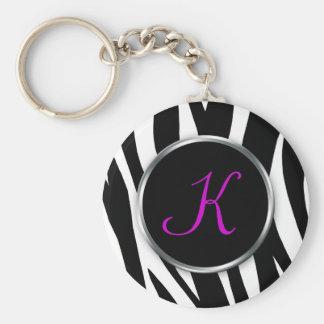 Zebra Print : Purple Monogram : Keychain