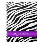 Zebra Print Purple Stripe Personalized Notebook