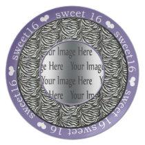 zebra print purple sweet 16 gift photo plate