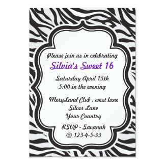 Zebra Print purple sweet sixteen invitation