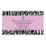 zebra print purple w/ heart shaped diamond Double-Sided standard business cards (Pack of 100)