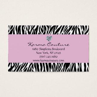 zebra print purple w/ heart shaped diamond business card