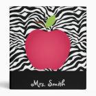 Zebra Print Red Apple Teacher's Personalized Binder