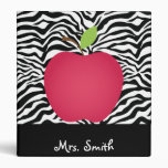 Zebra Print Red Apple Teacher's Personalized 3 Ring Binder