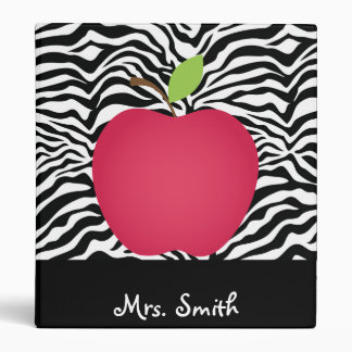 Zebra Print Red Apple Teacher's Personalized Binder