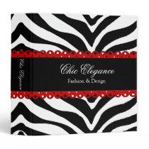 "Zebra Print & Red Lace Elegant 1.5"" Binder"