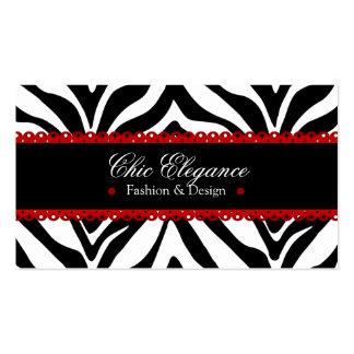 Zebra Print & Red Lace Elegant Business Cards