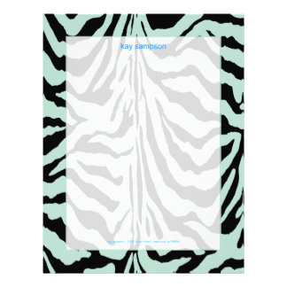 Zebra print, retro colors baby blue + black letterhead