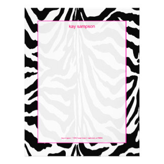 Zebra print, retro colors fuschia accent letterhead