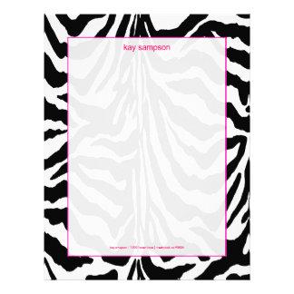 Zebra print, retro colors fuschia accent letterhead template