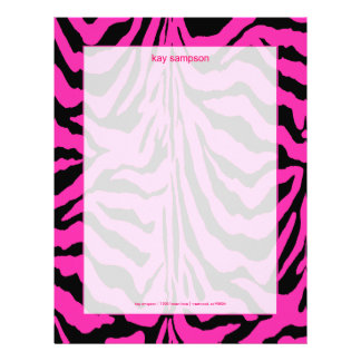Zebra print, retro colors fuschia + black letterhead
