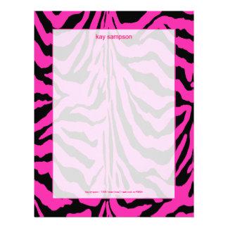 Zebra print, retro colors fuschia + black custom letterhead