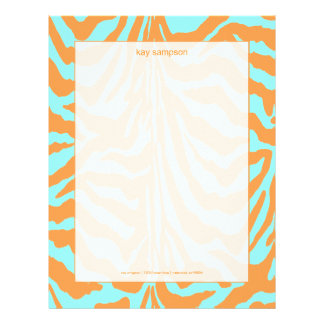 Zebra print, retro colors letterhead