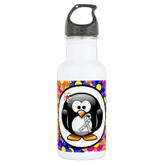 Zebra Print Ribbon Penguin Water Bottle