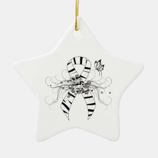 Zebra Print Ribbon with Butterfly Ceramic Ornament