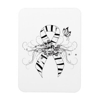 Zebra Print Ribbon with Butterfly Rectangle Magnet