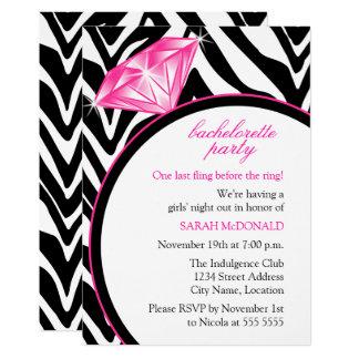 Zebra Print & Ring  Bachelorette Party Card