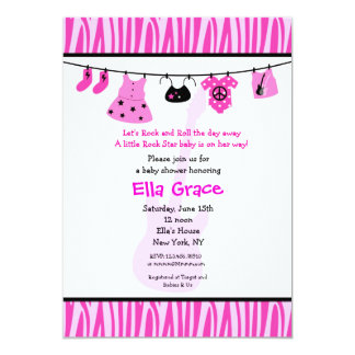 Zebra print Rock Star Baby Shower Invitaitons Card