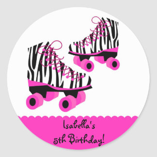Zebra Print Roller Skates Birthday Favor Stickers