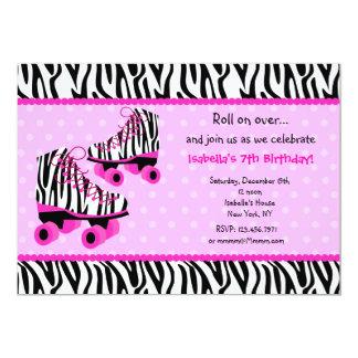 Zebra Print Roller Skates Birthday Invitations