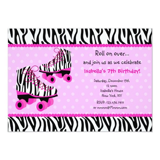 leopard print invitations templates - zebra print roller skates birthday invitations zazzle