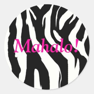 Zebra Print Round Mahalo Stickers - Thank You