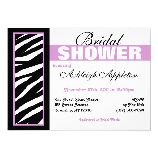 Zebra Print Side Purple Bridal Shower Invitations