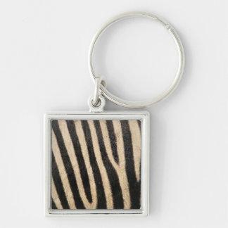 Zebra Print Silver Keychain