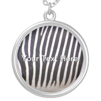 Zebra Print Silver Plated Necklace