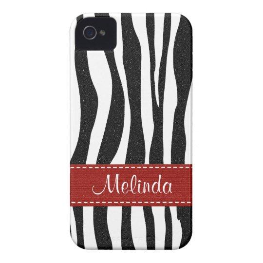 Zebra Print Skin Blackberry Bold Case Red Ribbon