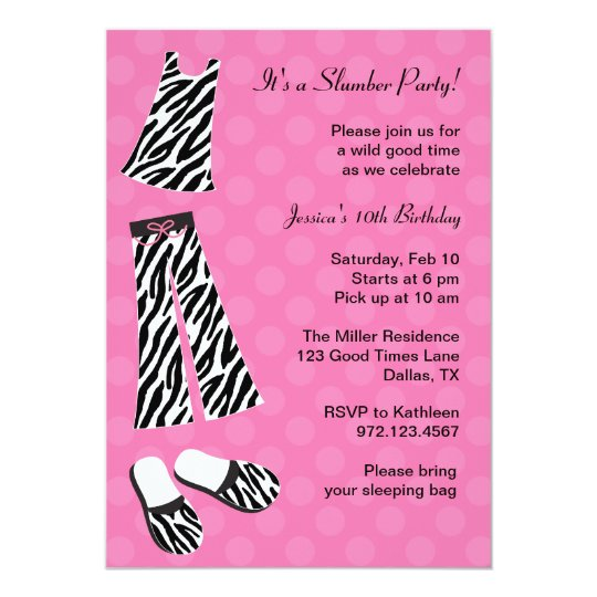 Zebra Print Slumber Party Invitations Zazzlecom