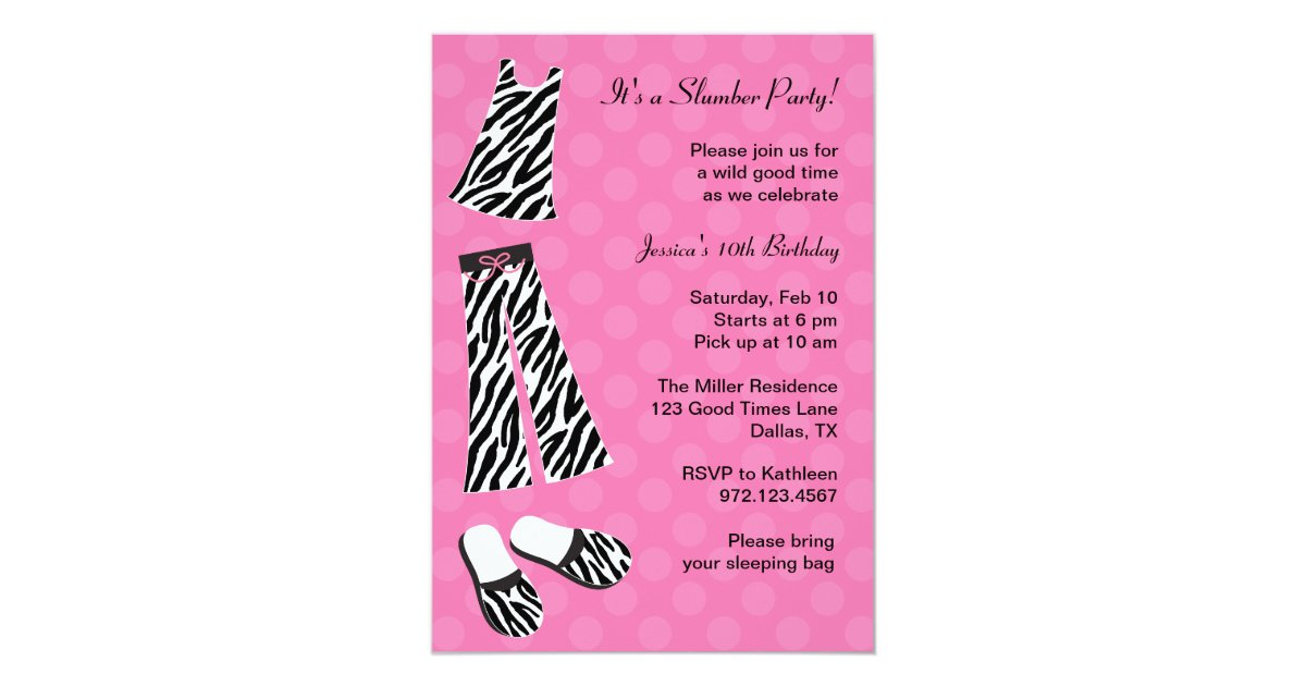 Zebra Print Slumber Party Invitations | Zazzle.com