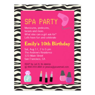 Zebra Print Spa Party For Girls Custom Announcement