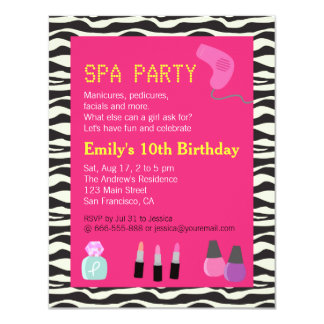 Zebra Print, Spa Party, For Girls Custom Announcement