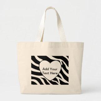 Zebra Print Stripes White Heart Large Tote Bag