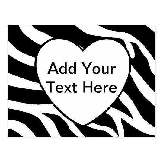 Zebra Print Stripes White Heart Postcard